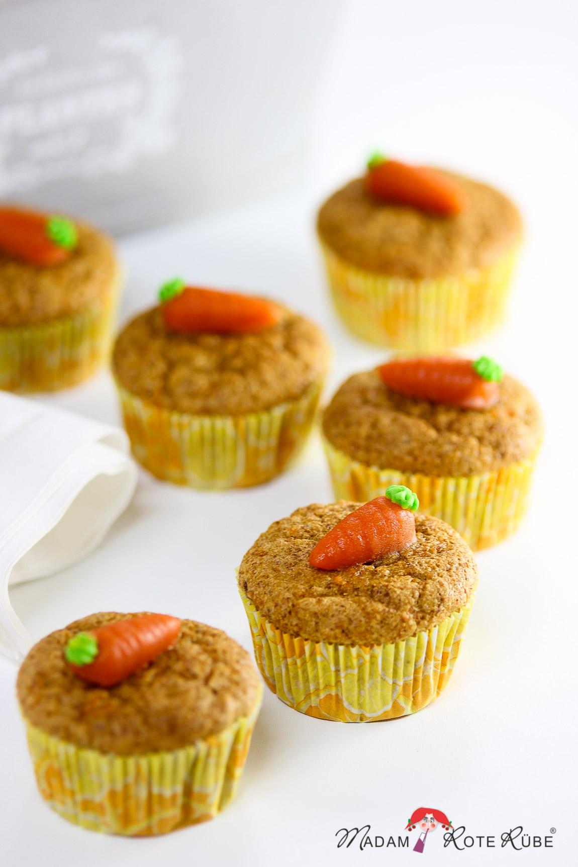 Madam Rote Rübe - süße Dinkelvollkorn-Möhrenmuffins