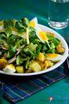 Herzhafter Salatteller mit Bratkartoffeln und Ei