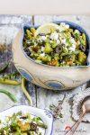 Mediterran angehaucht: lauwarmer Bratkartoffel-Grüne Bohnen-Salat mit Basilikum-Pesto