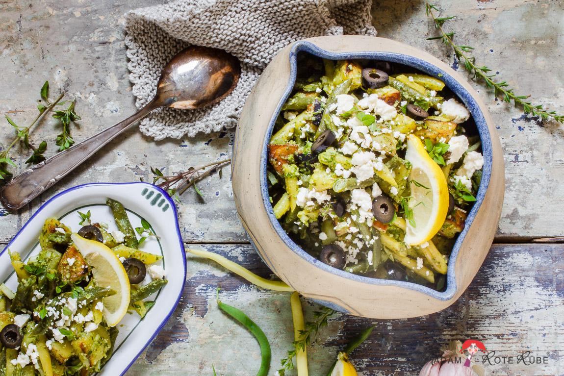 Madam Rote Rübe - Lauwarmer Bratkartoffel-Grüne Bohnen-Salat mit Basilikum-Pesto