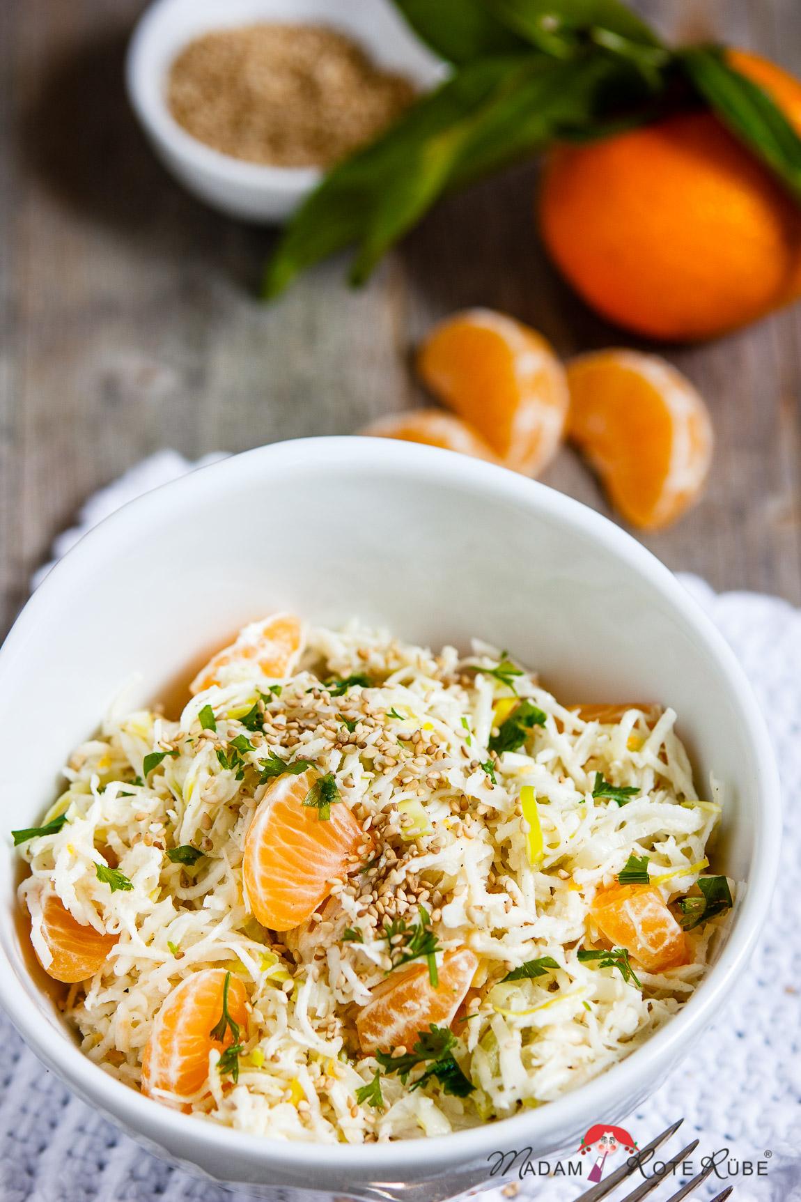Sellerie-Salat mit Lauch und Clementinen