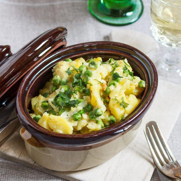 Madam Rote Rübe - Kartoffeln in Zwiebel-Sahne-Sauce mit Erbsen - Plattgeschmelzte aus der Pfalz