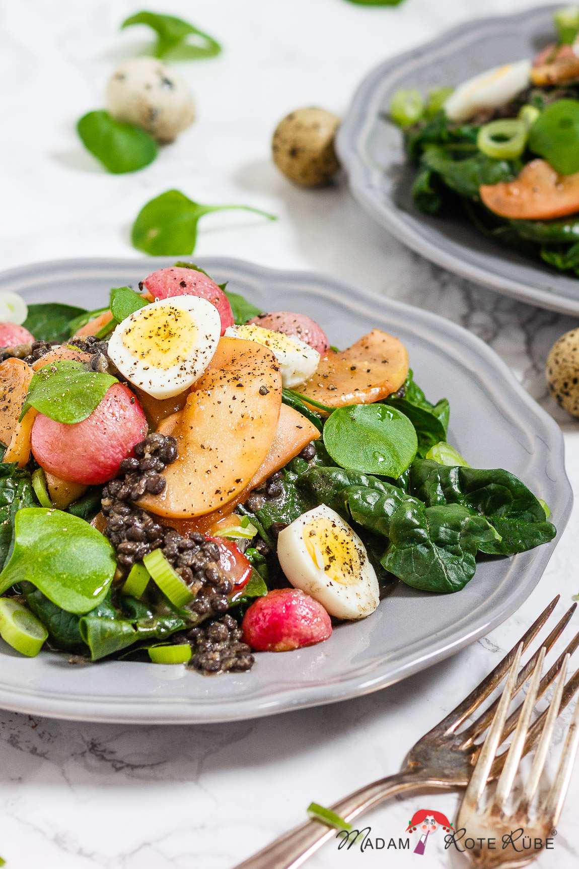 Madam Rote Rübe - Spinat-Salat mit Beluga-Linsen u. gebratenen Radieschen