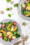 Spinat-Salat mit karamellisierten Honig-Radieschen und Linsen-Vinaigrette