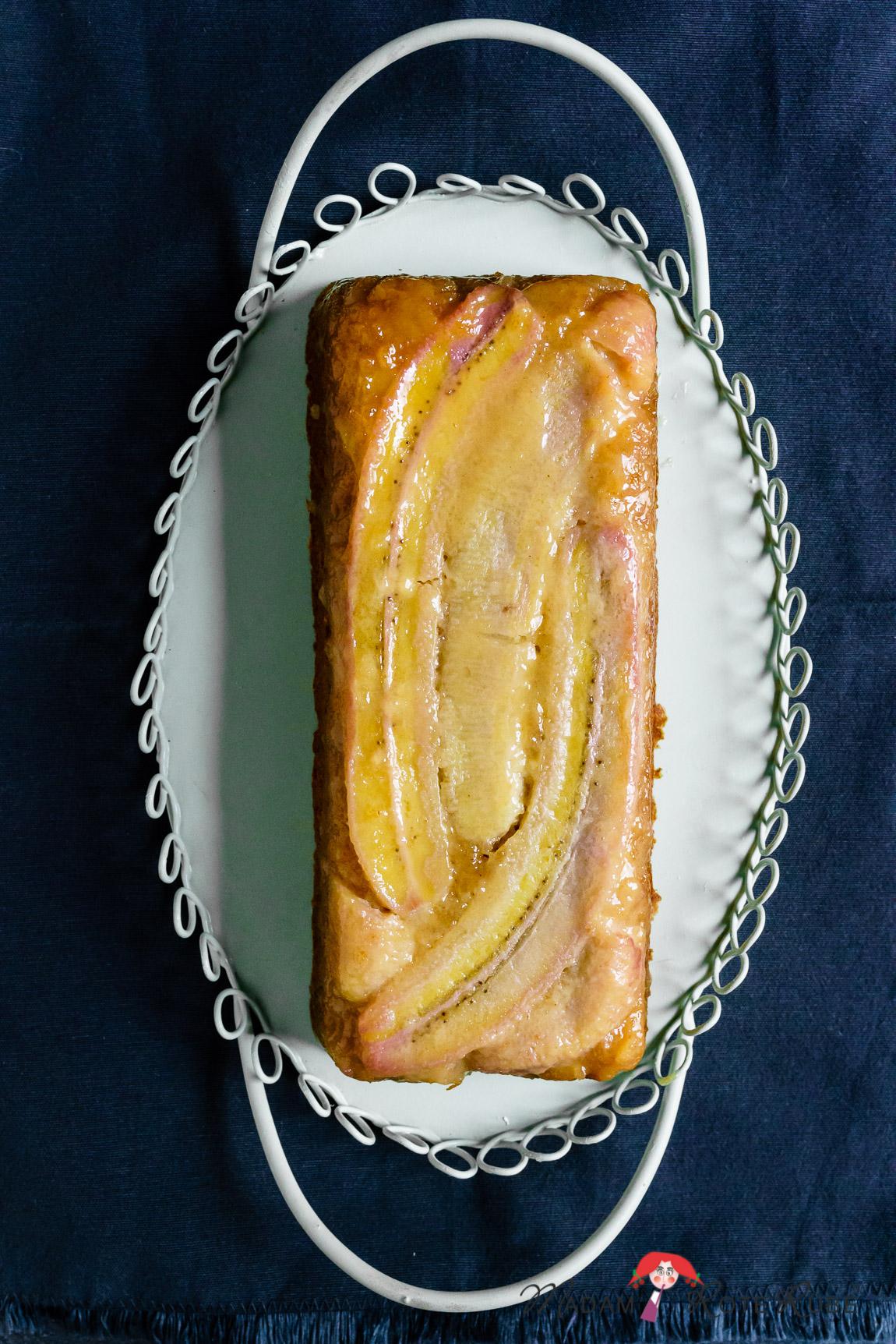 Madam Rote Rübe - Karamellisierter Honig-Bananen-Kuchen mit Dinkelvollkornmehl als Upside-Down