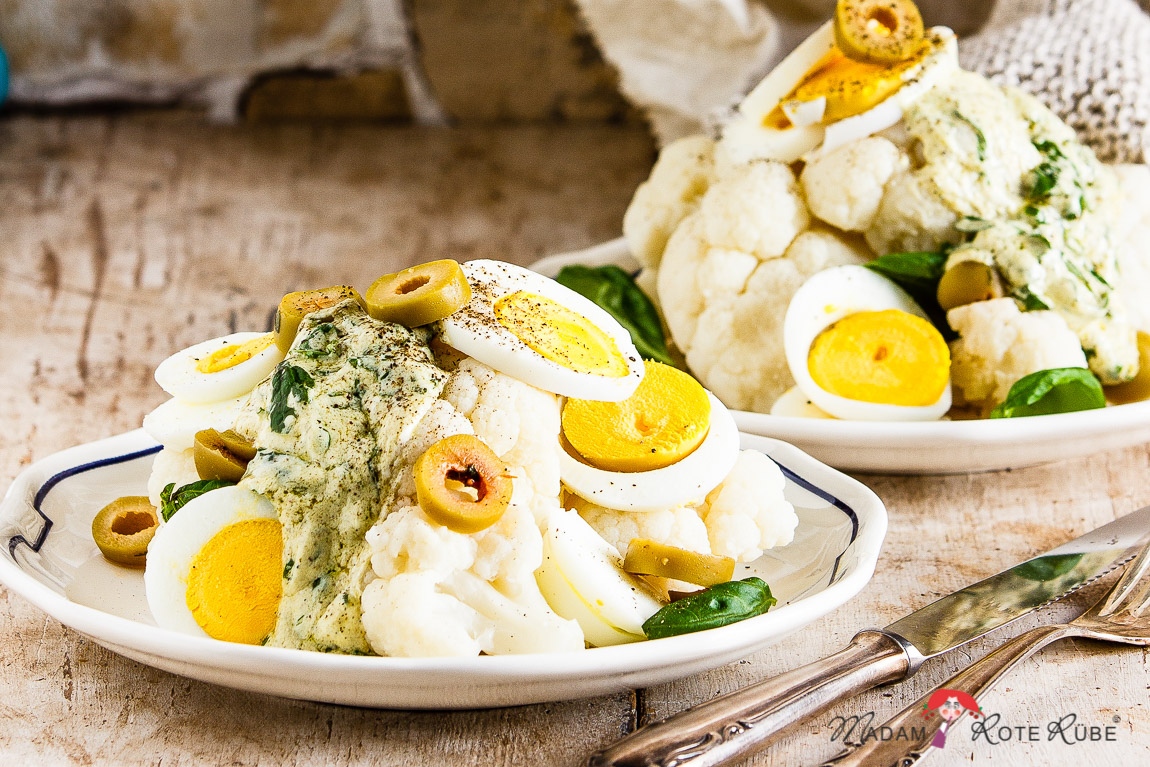 Madam Rote Rübe - Zarter Blumenkohlsalat mit Ei & Oliven