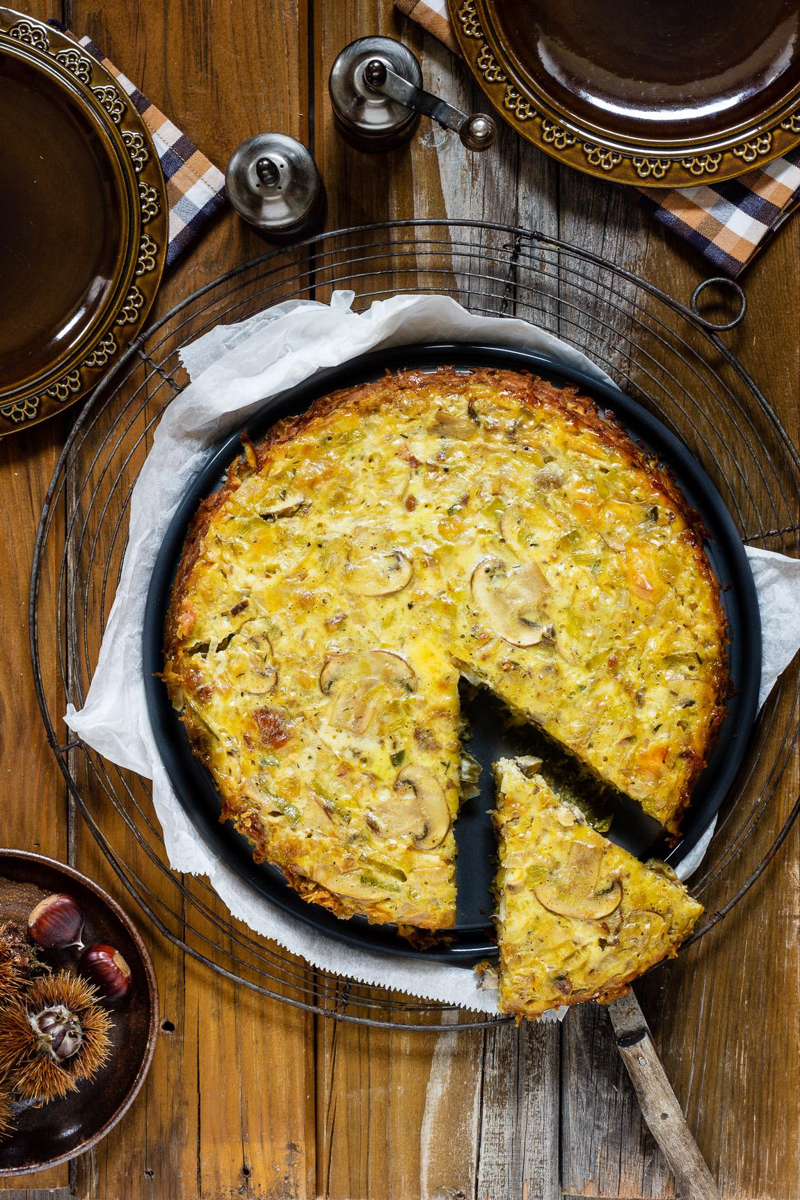Kastanien-Quiche mit Zwiebeln und Pilzen