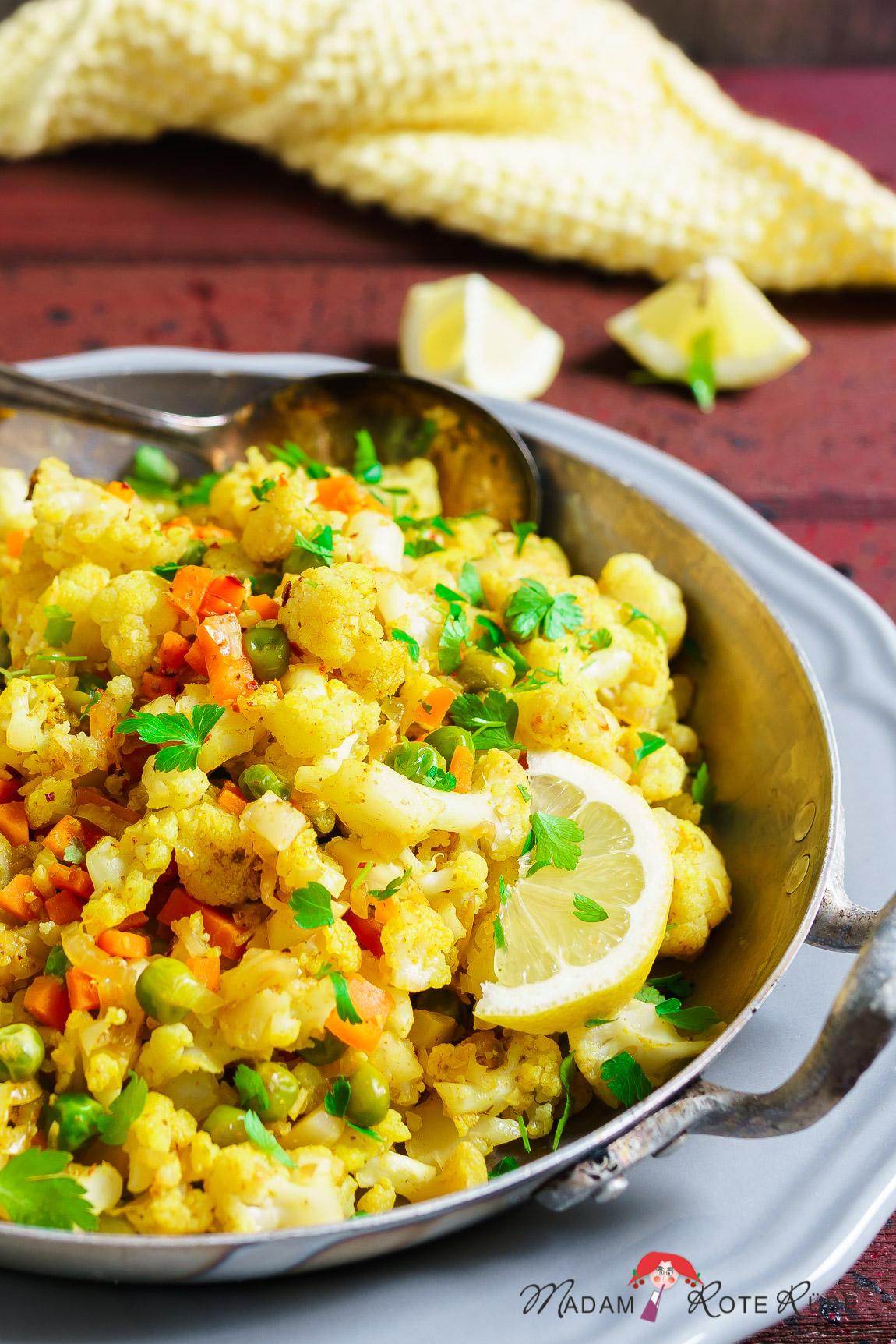 Madam Rote Rübe - Blumenkohl-Gemüsepfanne mit Curry