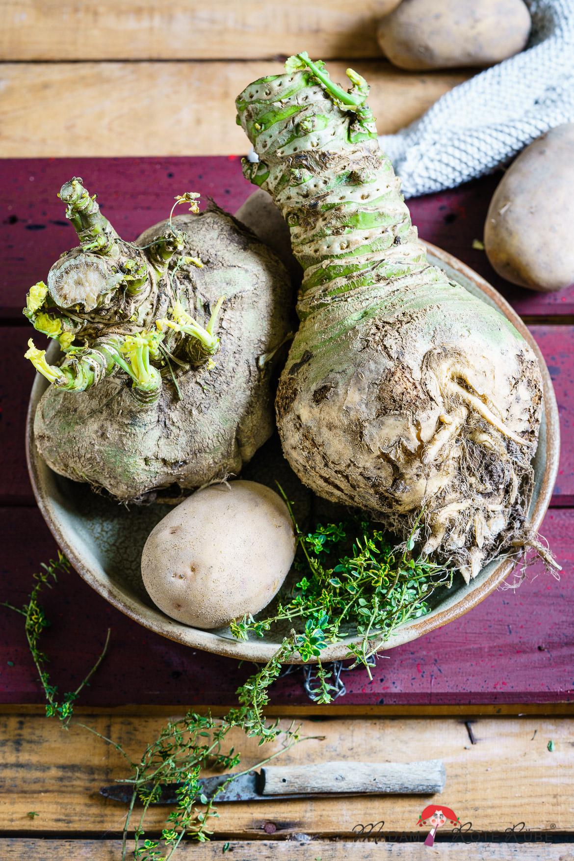 Kartoffel-Steckrüben-Gratin mit Zitronensauce und Thymianbrösel