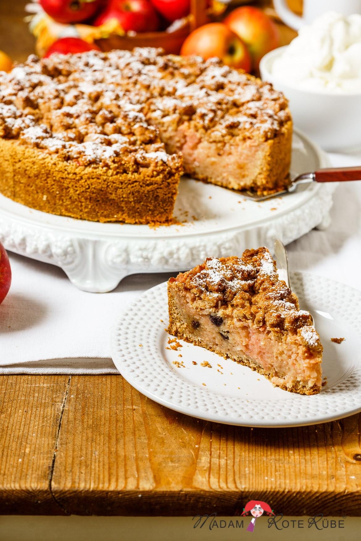 Madam Rote Rübe - Zimt-Apfel-Vollkornkuchen mit Streuseln
