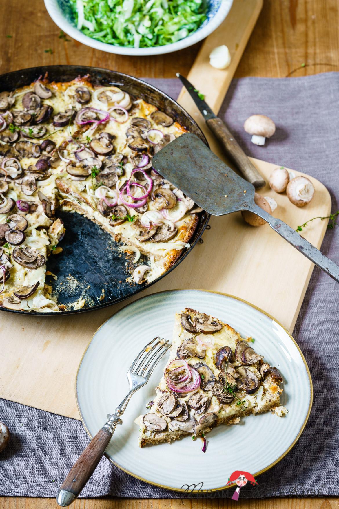 Madam Rote Rübe - Champignon-Quiche mit altbackenem Brot
