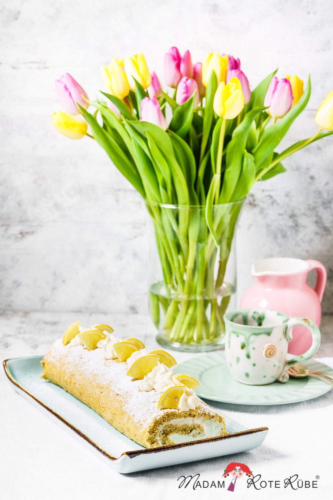 Madam Rote Rübe - Dinkelvollkorn-Biskuitrolle mit Zitronen-Joghurt-Sahne